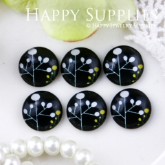 10pcs 12mm Tree Black Handmade Photo Glass Cabochon GC12-510