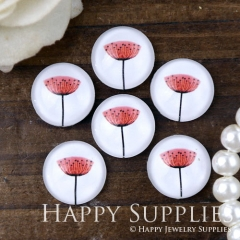 10pcs 12mm Flower Handmade Photo Glass Cabochon GC12-1076