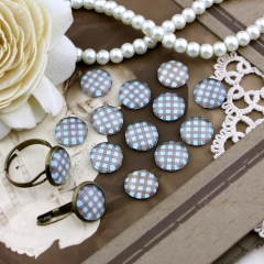10pcs 12mm Plaid Handmade Photo Glass Cabochon GC12-170