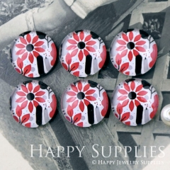 10pcs 12mm Flower Handmade Photo Glass Cabochon GC12-1168