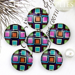 10pcs 12mm Colorful Geometric Handmade Photo Glass Cabochon GC12-719
