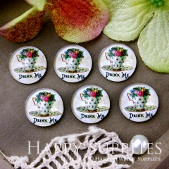10pcs 12mm Teapot Flower Handmade Photo Glass Cabochon GC12-522