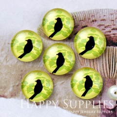 10pcs 12mm Bird and Leaves Handmade Photo Glass Cabochon GC12-1234