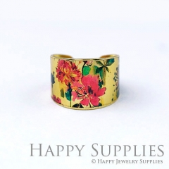 1pcs Flower Handmade Photo Brass Ring PR123