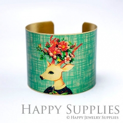 1pcs Deer Handmade Photo Brass Cuff Bracelet PBC094