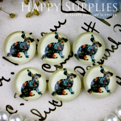 10pcs 12mm Rabbit Handmade Photo Glass Cabochon GC12-197