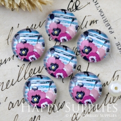 10pcs 12mm Flower Handmade Photo Glass Cabochon GC12-1210