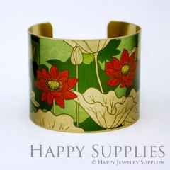 1pcs Flower Handmade Photo Brass Cuff Bracelet PBC050