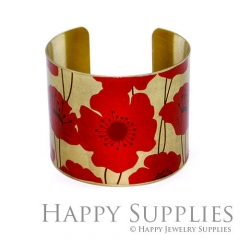 1pcs Flower Handmade Photo Brass Cuff Bracelet PBC021