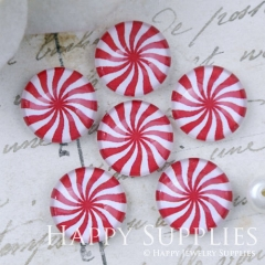 10pcs 12mm Red White Flower Geometric Handmade Photo Glass Cabochon GC12-1100