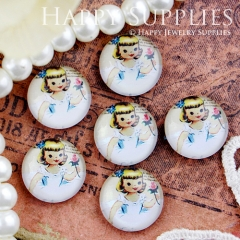 10pcs 12mm Girl Handmade Photo Glass Cabochon GC12-438