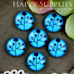 10pcs 12mm Tree Blue Handmade Photo Glass Cabochon GC12-506