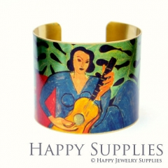 1pcs Woman playing the guitar Handmade Photo Brass Cuff Bracelet PBC036