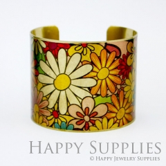 1pcs Flower Handmade Photo Brass Cuff Bracelet PBC049