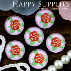 10pcs 12mm Flower Handmade Photo Glass Cabochon GC12-310