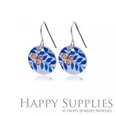 6pcs Blue leaf 925 Silver Plated Brass Charm Earring Necklace SY103