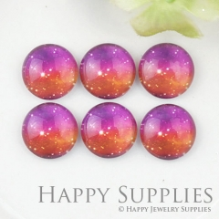 10pcs 12mm Space Red Handmade Photo Glass Cabochon GC12-1115