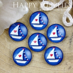 10pcs 12mm Sailing Boat Handmade Photo Glass Cabochon GC12-801