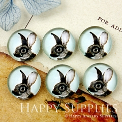 10pcs 12mm Rabbit Handmade Photo Glass Cabochon GC12-352