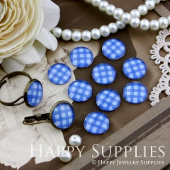 10pcs 12mm Blue plaid Handmade Photo Glass Cabochon GC12-146