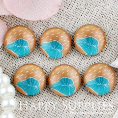 10pcs 12mm Rain Leaf Handmade Photo Glass Cabochon GC12-448