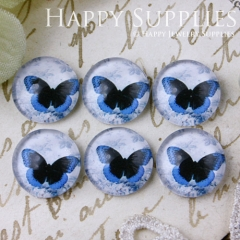 10pcs 12mm Butterfly Handmade Photo Glass Cabochon GC12-572
