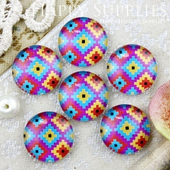 10pcs 12mm Colorful Geometric Handmade Photo Glass Cabochon GC12-720