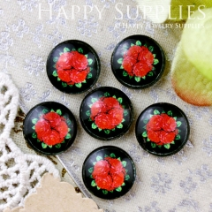 10pcs 12mm Flower Handmade Photo Glass Cabochon GC12-646