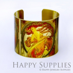 1pcs Beautiful woman Handmade Photo Brass Cuff Bracelet PBC026