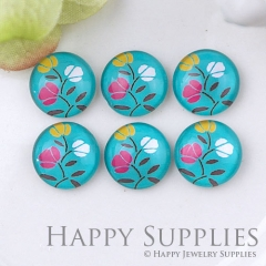 10pcs 12mm Flower Handmade Photo Glass Cabochon GC12-1089