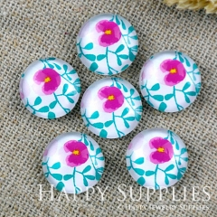 10pcs 12mm Flower Handmade Photo Glass Cabochon GC12-1166