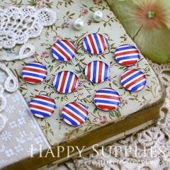 10pcs 12mm Colored stripes Handmade Photo Glass Cabochon GC12-126