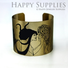 1pcs Man and Woman Handmade Photo Brass Cuff Bracelet PBC090