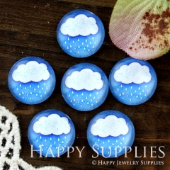 10pcs 12mm Rain Cloud Handmade Photo Glass Cabochon GC12-601