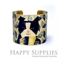 1pcs Cat Decorative pattern Handmade Photo Brass Cuff Bracelet PBC126