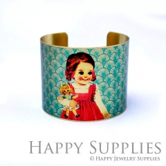 1pcs Little girl Handmade Photo Brass Cuff Bracelet PBC113