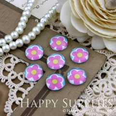 10pcs 12mm Flower Handmade Photo Glass Cabochon GC12-150