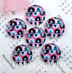 10pcs 12mm Geometric Colorful Handmade Photo Glass Cabochon GC12-1163
