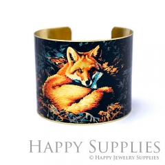 1pcs Fox Handmade Photo Brass Cuff Bracelet PBC107