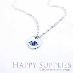 6pcs Blue White 925 Silver Plated Brass Charm Earring Necklace SY052
