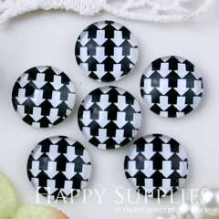 10pcs 12mm Black White Arrow Handmade Photo Glass Cabochon GC12-541