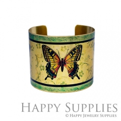 1pcs Butterfly Handmade Photo Brass Cuff Bracelet PBC130