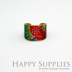 1pcs Pattern Handmade Photo Brass Ring PR064