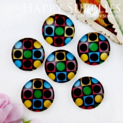10pcs 12mm Colorful Geometric Handmade Photo Glass Cabochon GC12-718