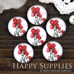 10pcs 12mm Red Flower Handmade Photo Glass Cabochon GC12-1200