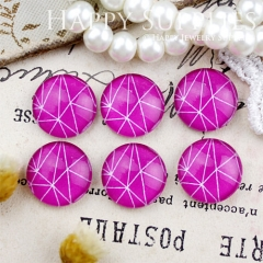 10pcs 12mm Pink Geometric Handmade Photo Glass Cabochon GC12-824