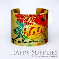 1pcs Chameleon Handmade Photo Brass Cuff Bracelet PBC046