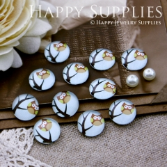 10pcs 12mm Tree Owl Handmade Photo Glass Cabochon GC12-186
