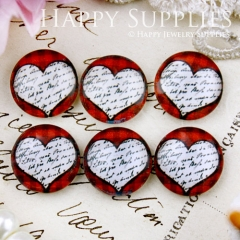 10pcs 12mm Heart Handmade Photo Glass Cabochon GC12-656