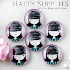 10pcs 12mm Doll Girl Handmade Photo Glass Cabochon GC12-619